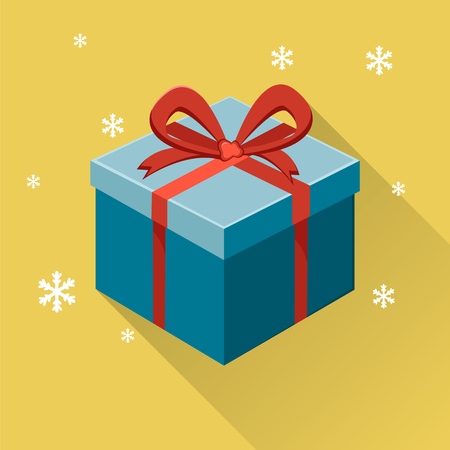 donative: Gift box with ribbon and bow on yellow background with snowflakes. Modern flat illustration