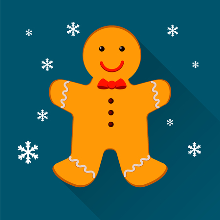 ginger bread man: Gingerbread man. Christmas cookies, isolated on blue background with snowflakes. illustration Illustration