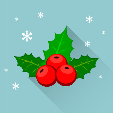 Christmas holly berry icon. Flat modern design. illustration Illustration