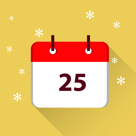 Christmas Day. 25 December. flat icon. Vettoriali