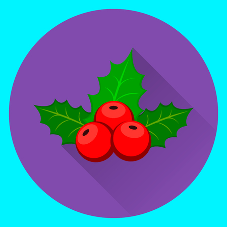 Merry Christmas and Happy New Year. Christmas holly berry icon on violet and blue background. Flat modern design. illustration Illustration