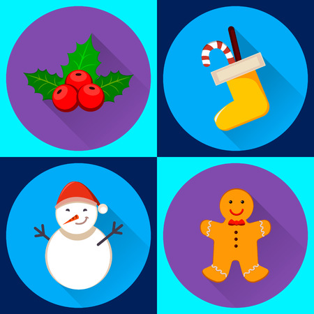 Merry Christmas and Happy new Year Set of four icons for New Year and Christmas. Snowman, Christmas sock, holly berry and gingerbread man Çizim