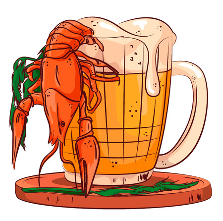 Mug of fresh cold beer with foam and boiled tasty crawfish. Vector illustration.