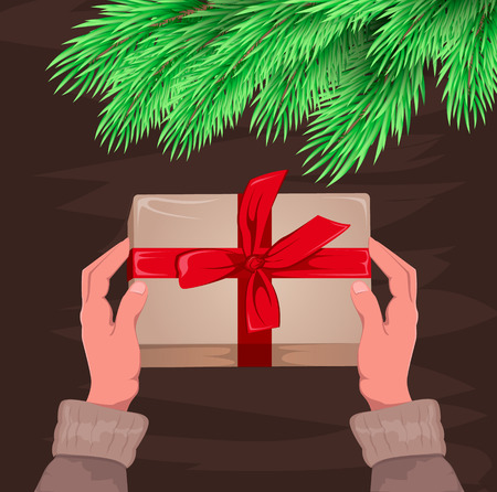 donative: Hands holding present. Gift box for Christmas and New Year. Christmas-tree branch.