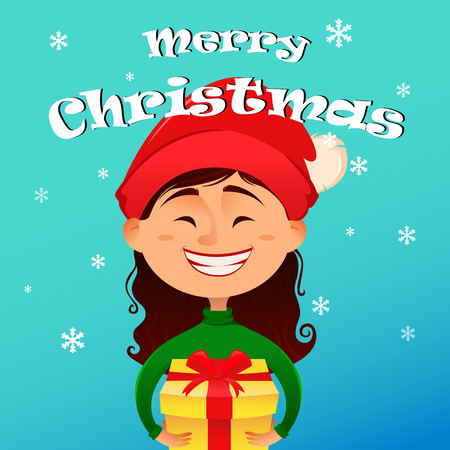 postcard box: Merry Christmas and Happy New Year postcard. Cute smiling girl in Christmas hat holding gift box in her hands. Vector illustration. Design elements