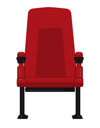 Comfortable red cinema seat for watching movies, isolated on white. Vettoriali