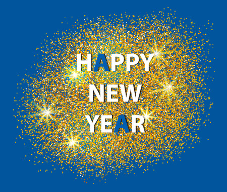 salute: Happy New Year 2017 postcard on blue background. Scattered gold. Can be used as golden background for New Year?s party. Vector illustration