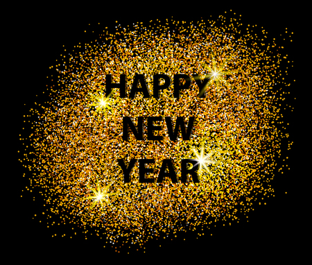 happy new years: Happy New Year 2017 postcard on black background. Scattered gold. Can be used as golden background for New Year?s party. Vector illustration Illustration