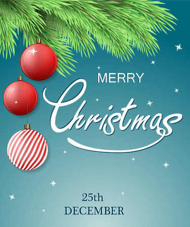 joyeux: Christmas postcard. Merry Christmas background with fir tree branch and Christmas decorations, hanging balls. Cool blue background. Vector illustration.