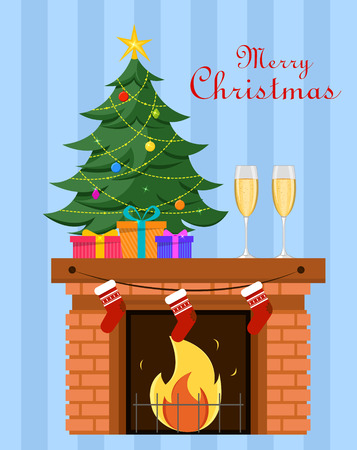 Miniature Christmas tree with gifts under it stands on the fireplace, two champagne glasses nearby. Blue striped background. Merry Christmas and Happy New Year postcard. Vector. Illustration