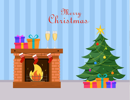 Miniature Christmas tree and gifts under it stands near fireplace, two champagne glasses and gift boxes on fireplace. Blue striped background. Merry Christmas and Happy New Year postcard. Vector.