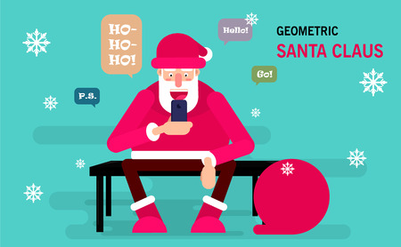 Santa Claus sitting on a bench and holds a smartphone for sending messages to his friends. Merry Christmas vector postcard. Usable as poster Vettoriali