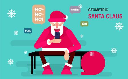 Père Noël assis sur un banc et est titulaire d'un smartphone pour envoyer des messages à ses amis. carte postale Joyeux Noël de vecteur. Utilisable comme affiche Banque d'images - 66469516