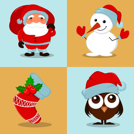 owlet: Cute funny Snowman, owlet in Christmas hat, empty Christmas sock with holly berry and Santa Claus with a bag full of gifts. Set of vector cartoon illustrations for winter holidays and New Year