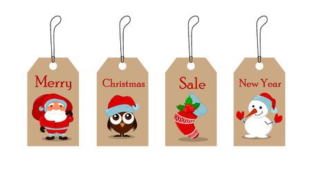 귀여운 재미 있은 눈사람, owlet 크리스마스 모자, 빈 크리스마스 양말 홀리 베리와 산타 클로스 선물 가득 가방. 크리스마스 태그 판매입니다. 벡터 일 일러스트