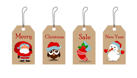owlet: Cute funny Snowman, owlet in Christmas hat, empty Christmas sock with holly berry and Santa Claus with a bag full of gifts. Christmas tags for sale. Vector illustration. EPS10