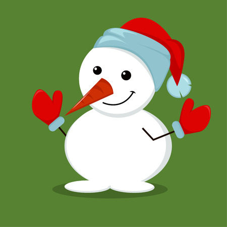 Cute, funny Snowman in mittens and Christmas hat isolated on green background. Vector cartoon illustration.