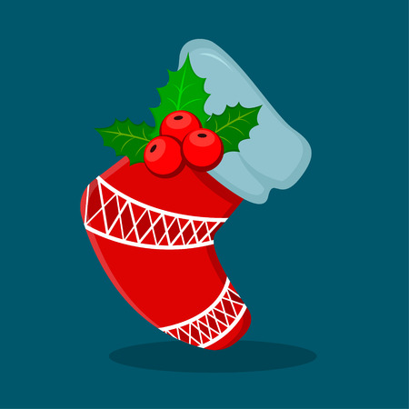 Empty Christmas sock with holly berry isolated on blue. Decorative red stocking. Vector illustration for Christmas, New Year, winter holiday. Modern flat style.