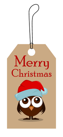 owlet: Christmas tag for sale. Funny owlet with big eyes in Christmas hat. Vector illustration. EPS10