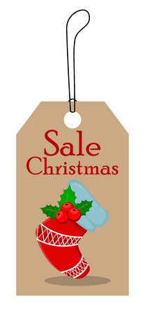 Christmas tag for sale. Empty Christmas sock with holly berry. Vector illustration. EPS10 Çizim