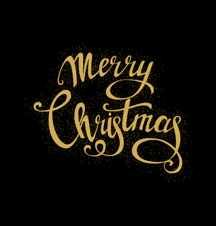 Merry Christmas beautiful lettering, handmade calligraphy. Golden letters with scattered golden dots isolated on black. Vector Illustration for winter holidays. Calligraphy Font style Banner Illustration