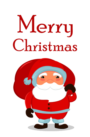 bagful: Merry Christmas card. Santa Claus with a bag full of gifts. Cheerful cartoon character. Vector illustration.