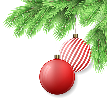 Realistic fir tree branch and Christmas decorations on white background. Can be used as a background or greeting card for holidays - New Year, Christmas etc. Vector illustration.