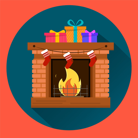 Three gift-boxes with presents on fireplace. Red round background. Happy New Year and Merry Christmas postcard. Flat style