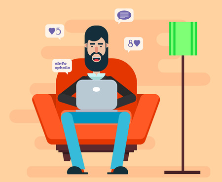 chat room: Bearded man sitting in a chair with a laptop on his lap and browsing Internet. Home cozy atmosphere. Comfortable domestic illustration. Illustration