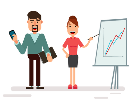 Businessman and businesswoman characters standing with strategy presentation income chart, isolated on white. Geometric people. Modern style Illustration