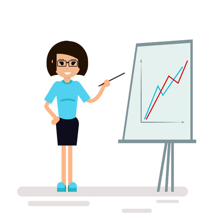Businesswoman character in glasses standing with strategy presentation income chart, isolated on white. Geometric people. Modern style Illustration
