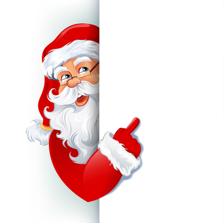 peek: Happy smiling Santa Claus standing behind a sign, showing on big blank sign. Vector illustration. EPS10