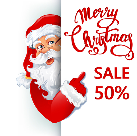 Happy smiling Santa Claus standing behind a sign, showing on big sign Merry Christmas Sale 50 percent. Vector illustration. EPS10 向量圖像