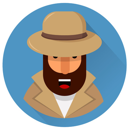 Private detective in light brown hat and coat. Geometric bearded character. Vector illustration. Design element. EPS10 Illustration