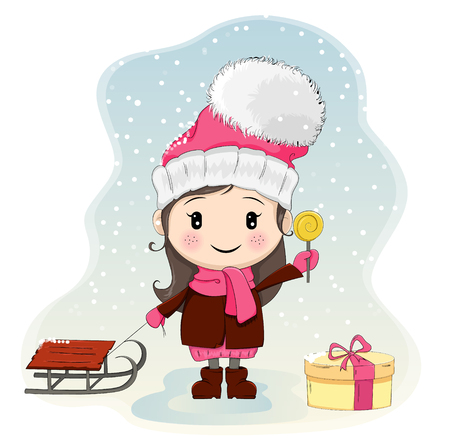 Cute little girl with sled standing near gift-box and eating candy. Pretty girl in winter clothes, hat with big pompon. Vector illustration. Usable as a print or poster. EPS10 Illusztráció