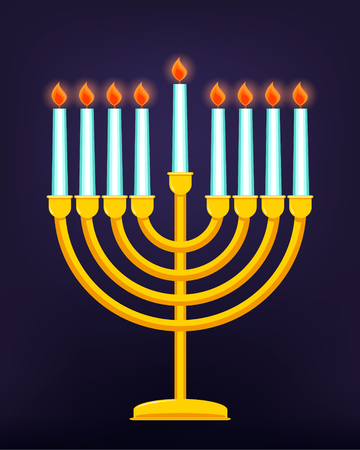Happy Hanukkah, Jewish holiday. Golden menorah with burning candles. Vector illustration. Illustration