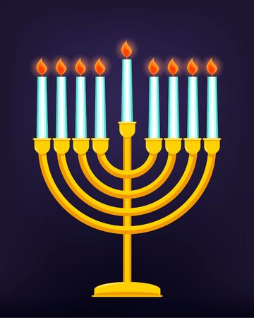Happy Hanukkah, Jewish holiday. Golden menorah with burning candles. Vector illustration. Illustration