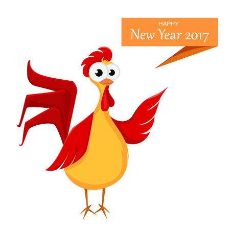 Crazy Cartoon Red Rooster Wishes Happy New Year. Funny Rooster ...