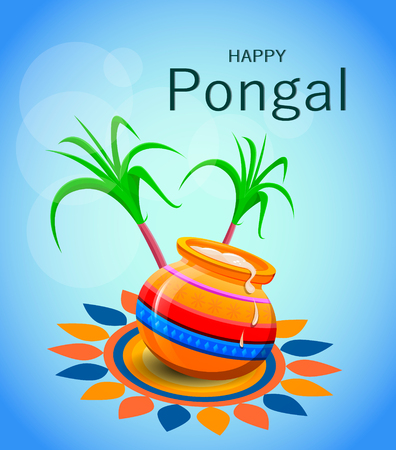 harvesting rice: Happy Pongal greeting card on blue background. Vector illustration.