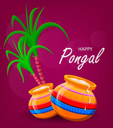 harvesting rice: Happy Pongal greeting card on violet background. Makar sankranti. Poster. Vector illustration.