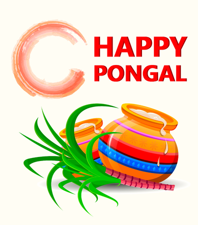 harvesting rice: Happy Pongal greeting card on white background. Vector illustration.