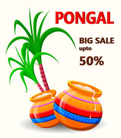 harvesting rice: Happy Pongal poster for sale on white background. Makar sankranti. Poster. Vector illustration.