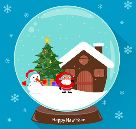 Santa Claus, Christmas tree, snowman, presents and house, scene in snow globe. Vector illustration on blue background