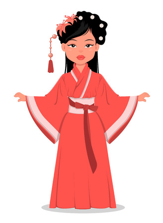 Chinese girl character in beautiful traditional clothes and with flowers in her hair. Vector cartoon illustration. EPS10