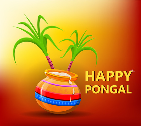 Happy Pongal greeting card on beautiful bright sunny background. Makar sankranti. Happy Lohri. Poster. Vector illustration.