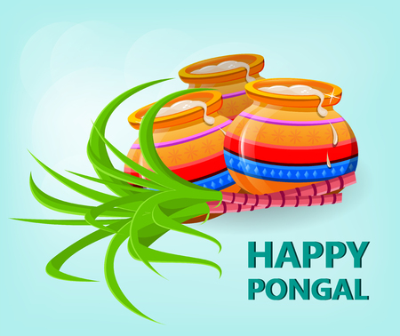Happy Pongal greeting card on gentle blue background. Makar sankranti. Poster. Happy Lohri. Vector illustration.