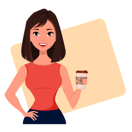 Young cartoon businesswoman with coffee, wearing a free dress style. Beautiful brunette girl having a rest while coffee break. Fashionable modern lady. Vector illustration. EPS10