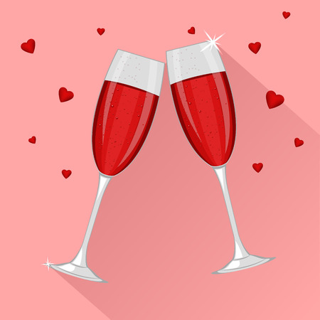 Two glasses of red champagne for Saint Valentines day or 8 March isolated on pink background. Vector illustration.
