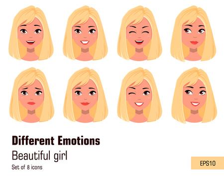Businesswoman making different face gestures. Young attractive girl with various emotions. Set of eight vector illustrations.