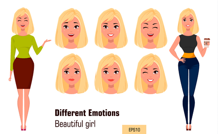 making face: Businesswoman making different face expressions. Young attractive girl with various emotions. Set of vector illustrations.